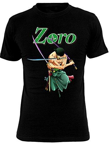 OnePiece One Piece Herren T-Shirt Roronoa Zoro Anime Baumwolle Schwarz Schwarz