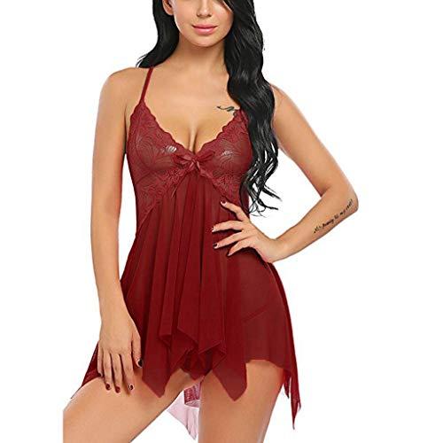 Qinsling biancheria intima donna sexy, hot aperto intimo da notte scollo a v intimo sexy rosso vino