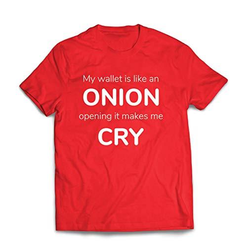 lepni.me Männer T-Shirt Meine Brieftasche ist wie eine Zwiebel, Kein Geld Lustiger Job, Büro-Humor (Large Rot Mehrfarben)