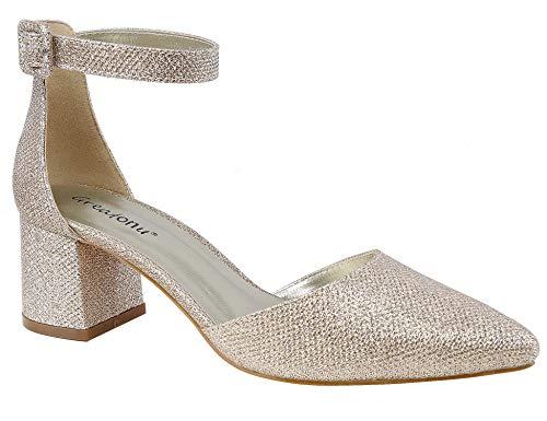 Greatonu scarpe da donna mary jane con cinturino alla caviglia e cinturino alla caviglia glitter d'oro 41 eu