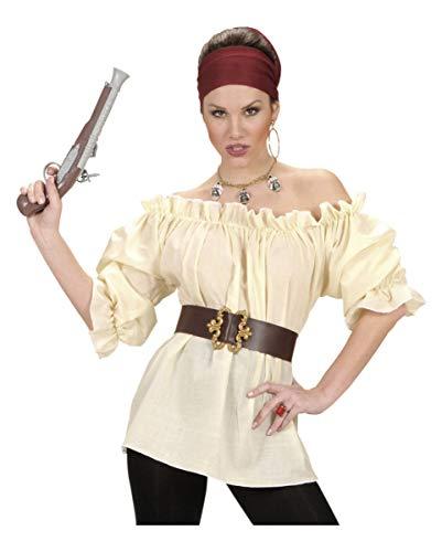 Horror-Shop Beige Piratenbluse im Steampunk Look - Kostümzubehör M