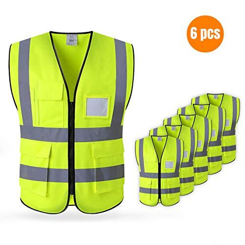 LARNMERN Gilet de sécurité Jaune et Orange Taille Petit & Sangle (L, Jaune)