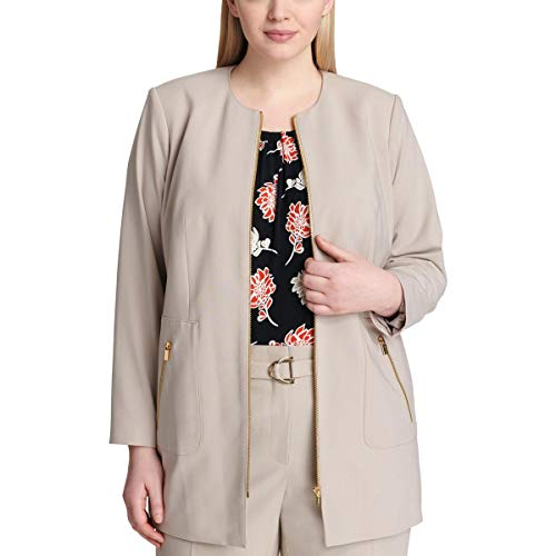 Calvin Klein Womens Plus Office Wear Business Topper Jacket - Calvin Klein Sport Mantel