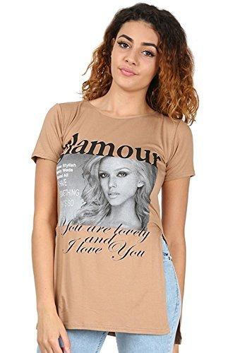 Oops Outlet Damen T-shirt Damen Gedruckt Slogan Logo Seite Schlitz Split Tunika Kleid T-shirt Top Glamour Camel