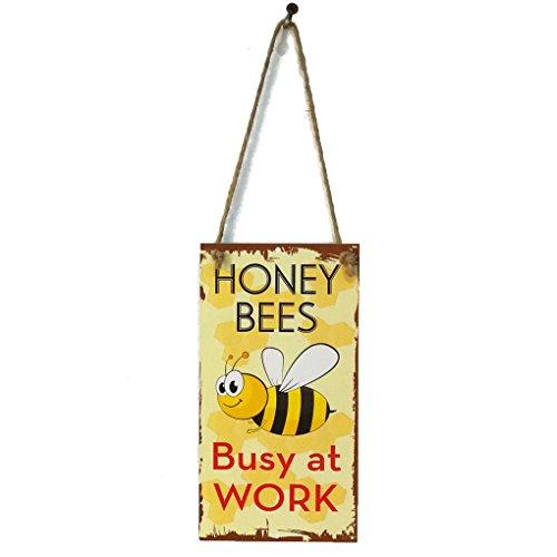 Meisijia Frühling Biene beschäftigt bei der Arbeit Brief hölzerne Plaque Wand Dekor hängende Anhänger Schild für Garten Plank Dekoration (Wand-dekor-garten)