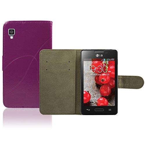 LG Optimus L4 II E440 Premium Leder Flip Case - Violett Pu Leder Schutz Hülle Brieftasche Case Für LG Optimus L4 II E440 - thinkmobile