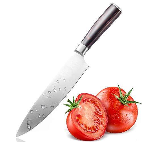 Coltelli da cucina, kealive coltelli da chef, coltello da tavola con lama da 20 cm, coltello da cucina lama in acciaio inox, manico in legno