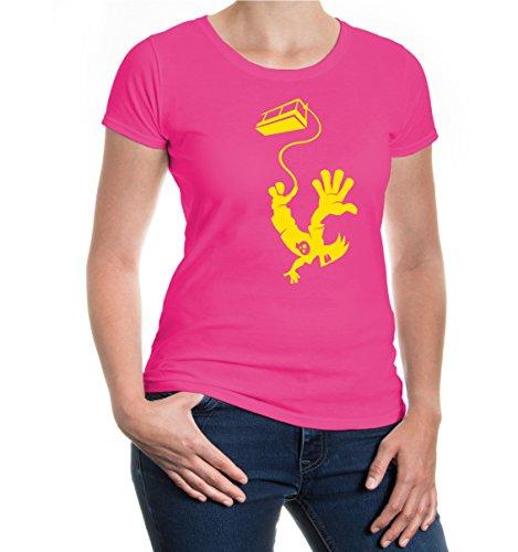 Rosa Bungee-seile (Girlie T-Shirt Bungeejumping Comicfigur-XXL-Fuchsia-Sunflower)