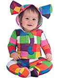 Baby Boys Girls Official Elmer The Patchwork Elephant Colourful Fancy Dress Costume Hooded Romper Suit World Book Day Week 3-18 Months (9-12 Months)