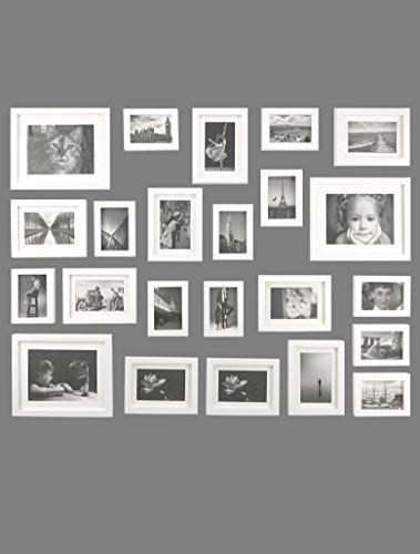 23er Packung Holzbilderrahmen mit Passepartouts, Massivholz, zur Wandbefestigung, 115x85 cm,Weiß