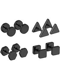 LUXUSTEEL 4 pares de moda 316L negro Multi forma pendientes de acero inoxidable antial¨¦