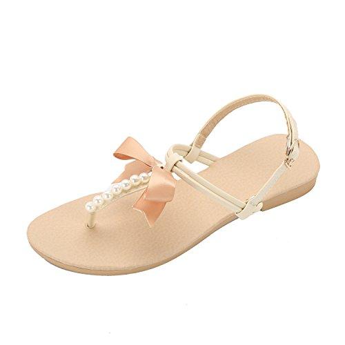 Lath.pin scarpe donna estive casual infradito con perlina arco pantofole boemia dolci sandali flat (41 eu, bianco)