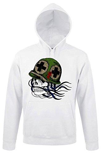 Big Head Skull Army Awesome White Design Pullover Men Women Uomo Donna Unisex White Hoodie