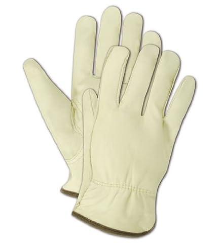 Magid TB550E RoadMaster Unlined Grain Leather Driver Glove with Keystone Thumb, Work, Small, Tan (One