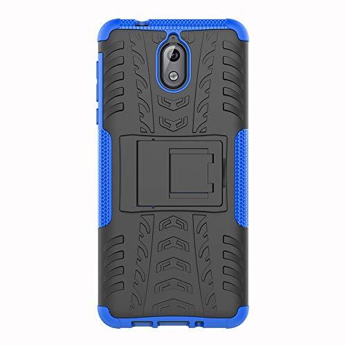 SHIEID Nokia 3.1-Hülle Tough Hybrid Armor Case,Diese Handyhülle Anti-Wrestling Travel Essential Faltbare Halterung für Nokia 3.1(Blau)
