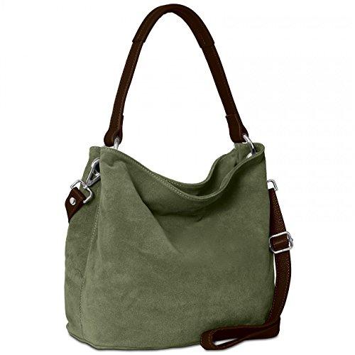 CASPAR TL580 Sac à main pour femme/porté à l'épaule en véritable DAIM - FABRIQUÉ EN ITALIE - plusieurs coloris, Couleur:vert olive