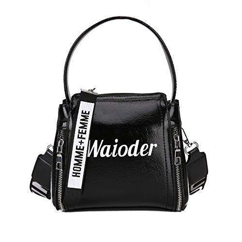 LFGCL Taschen womenLetter Dame Handtasche kreative Umhängetasche Breiten Schultergurt Mode Eimer Umhängetasche, schwarz