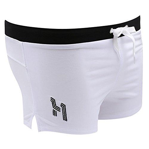 Costume da bagno Uomo Boxershorts - Hibote Costumi Boxer da Uomo con Taschino Elastico Pantaloncini Calzoncini Mutande pantaloni per Spiaggia Mare Blu Bianco Rosso Nero M L XL Bianca
