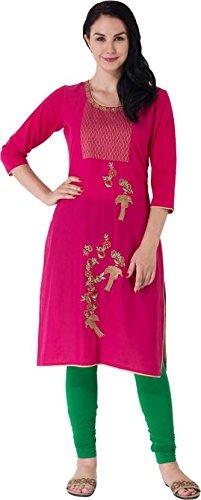 M&D Pink cotton Embroidered Women's Kurti