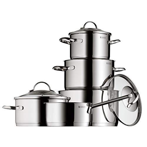 WMF Provence Plus Topfset, 5-teilig, mit Glasdeckel, Kochtopf, Stielkasserolle, Cromargan Edelstahl poliert, induktionsgeeignet, spülmaschinengeeignet