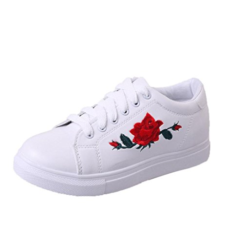 Minetom donna primavera casual all'aperto rose stampa sneakers basse interior scarpe adulto impermeabile fitness a bianco eu 37