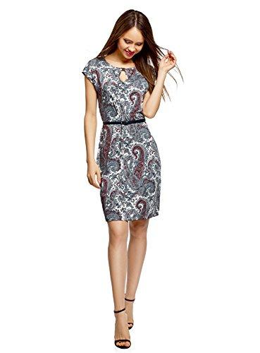 (oodji Collection Damen Jersey-Kleid mit Gürtel, Weiß, DE 40/EU 42/L)