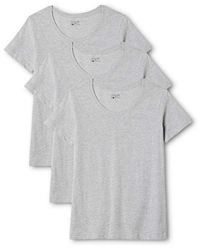 Berydale Damen T-Shirt für Sport & Freizeit, Rundhalsausschnitt, 3er Pack, Grau (Grau), Small