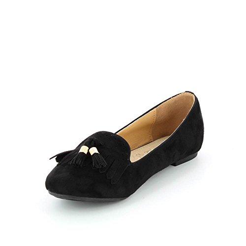 Pantofole Taglia Comoda stile camoscio nero - Numero della 41 il 44 - Donna Nero