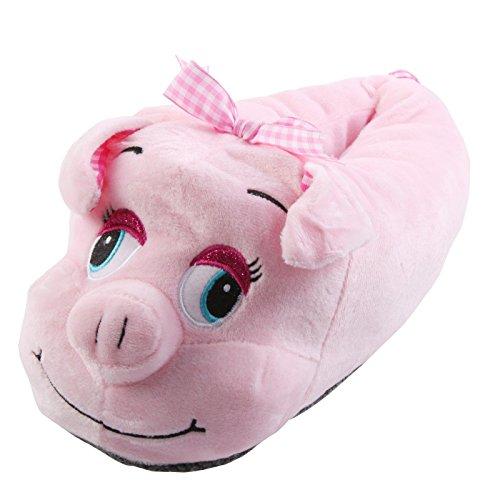 Hausschuhe Lustige Plüsch (Tierhausschuhe Schwein Schweinchen Tier Hausschuhe Pantoffel Schlappen Kuscheltier Plüsch Damen Rosa 36-41, TH-PIGDOT, Schuhgröße 40/41)