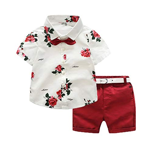 einkind Baby Boy Gentleman Suit Rose Fliege T-Shirt Shorts Hosen Outfit Set ()