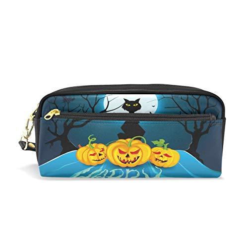 Stift Fall stationäre Halloween Vollmond Nacht schwarze Katze Kürbis Fledermaus Bleistift Taschen tragbare Tasche für Schule Kinder Kinder Kosmetiktasche Make-up Beauty Case