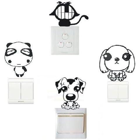 lote de vinilo decorativo pegatina pared, para interruptor o enchufe (Varios colores a elegir)- lote 4 animales