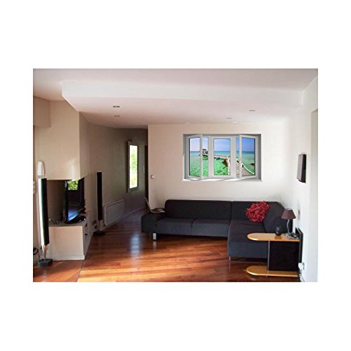 TATOUTEX Sticker, Trompe Auge Fenster der Hütte auf L Wasser, L 150cm x H 90cm