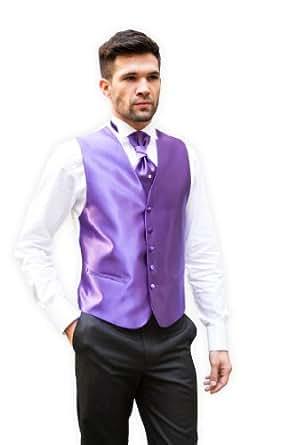 Mille et une cravates - Ensemble Gilet & Lavallière Satin Violet - XXX-Large, Violet