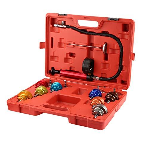 Tellaboull for 14 Stücke Universal Automotive Kühler Druck Tester Kit Auto Vacuum Purge Kühlsystem Set Pumpenlehre Lecksucher Werkzeug