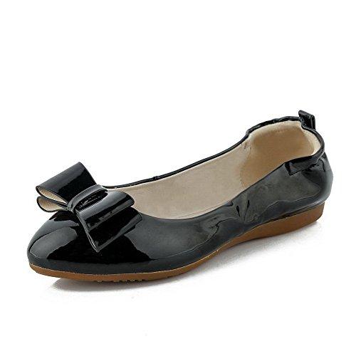 AllhqFashion Femme Couleur Unie Pu Cuir à Talon Bas Tire Rond Chaussures à Plat Noir