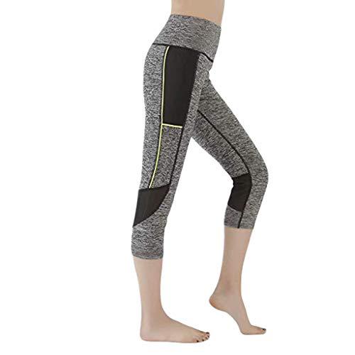 SOthread(TM) Damen Mesh-Nähte, hohe Taille, Stretch, Laufen, Fitness, 7 Punkte, Yoga, Leggings für Frauen - Grau - Groß (Beute-shorts Für Frauen)
