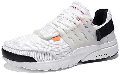 PORTANT Herren Sportschuhe Sneakers Ultra Leichte Laufschuhe Running Turnschuhe Atmungsaktiv Knit Schnüren Schuhe Männer Fitness Bequem Turnschuhe Jungen Outdoor Weiß 41 EU