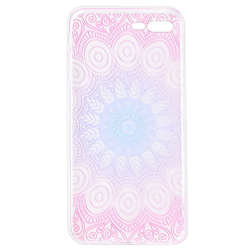 Custodia iPhone 7 Plus , ZXK CO Morbido Flessibile TPU Gel Silicone Cover Case Trasparente Ultra Sottile Case per iPhone 7 Plus-Mandala colorato Colore-3