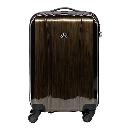 FERGÉ Trolley bagaglio a mano Dijon - Valigia rigida 55x35x22 cm valigetta bagaglio cabina 4 ruote girevole marrone