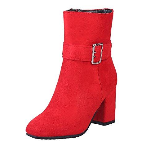 UH Femmes Chaussures Bottines de Cuissarde Fermeture Eclair avec Boucle Chic à Talons Bloc Confortables Elegantes Rouge