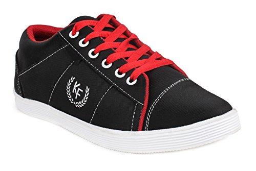 casual chaussures baskets pour hommes de conduite pantoufle d'orange lacer les chaussures en toile noir et rouge