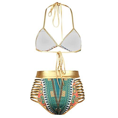 LuckyGirls ❤️• •❤️ Donne stampa africana Bikini costumi da bagno reggiseno multicolore affascinante retro Bikini Verde