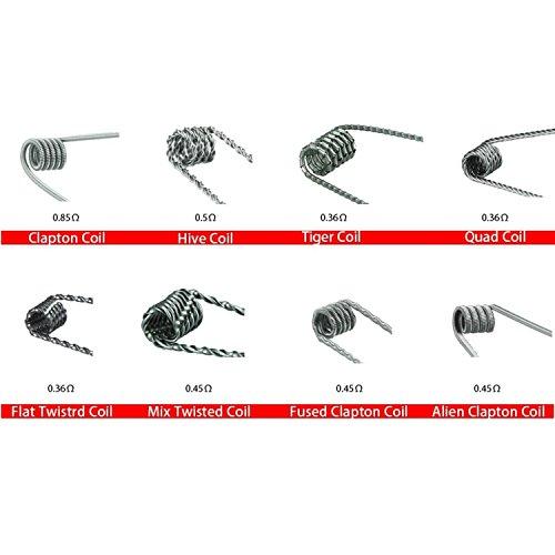 DIY-24H - 8x Coils Fertigwicklung Alien Clapton, Hive, Tiger, Quad, Flat Twisted, Mix Twisted, Fused Clapton, Wire Prebuilt RDA RBA RTA Kanthal A1 Draht