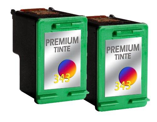 wiederbefüllte Druckerpatrone Drucker Patrone für 2x HP 343 Tintenpatrone PhotoSmart 2570, 2575, 2600, 2700, 325, 330, 335, 375, 385, 420
