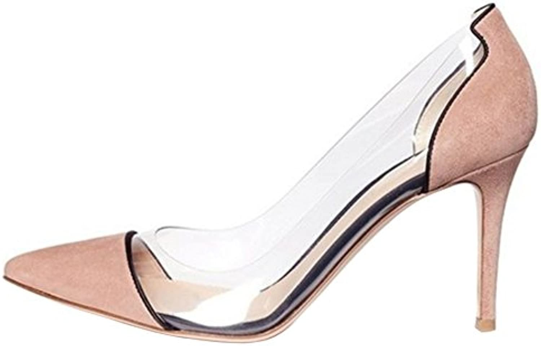 COOLCEPT Mujer Moda Cerrado Puntiagudo Tacon Estilete Court Bombas Zapatos sin Cordones -