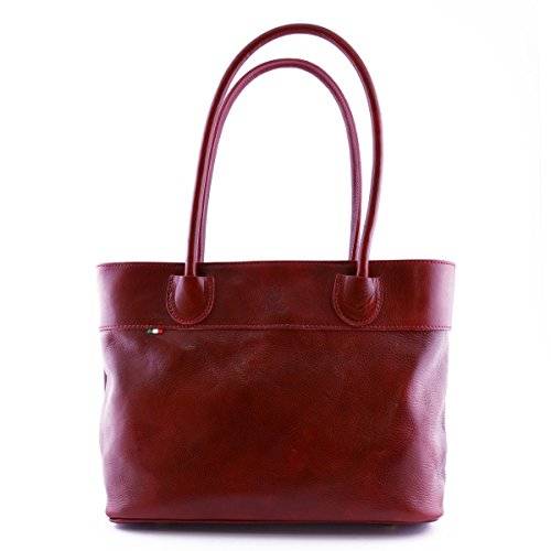 Borsa Donna A Spalla In Pelle Con Scomparto Interno A Zip Colore Rosso - Pelletteria Toscana Made In Italy - Borsa Donna
