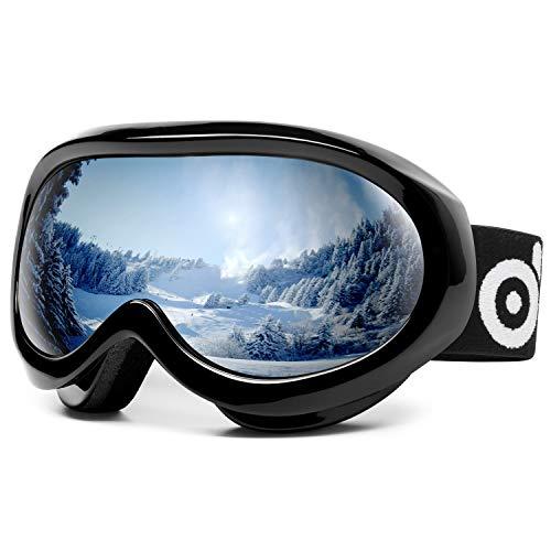 Odoland Occhiali da Sci per Bambini 8-16 Anni - Maschere da Neve Compatibili con Casco per Ragazzi e Ragazze con Protezione UV400 e Anti-Fog - Lente di Doppia Strato e OTG Design