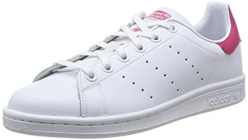 adidas Stan Smith, Baskets Fille, Blanc Footwear White/Bold Pink 0, 37 1/3 EU