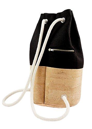Seesack Rucksack Filz & Kork 14l, fair und veganer Daypack Rucksack Schwarz Damen, Kordeln verstellbar, rucksack frauen, UlStO - 2